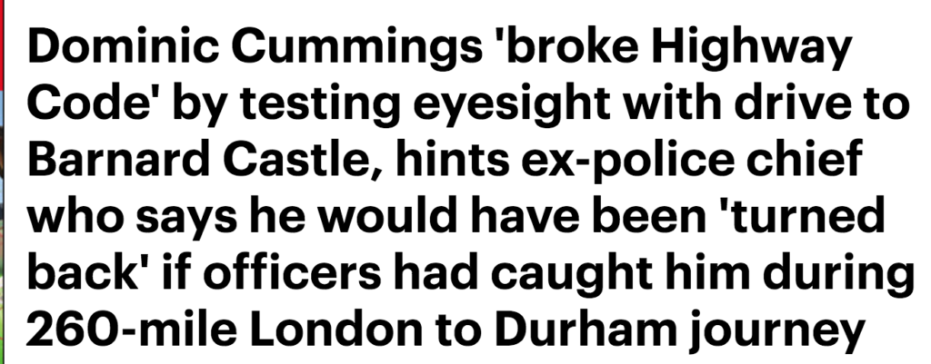 2020, headlines, news, stories, Dominic Cummings, Durham