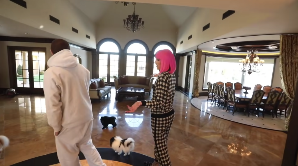 jeffree star house, youtuber houses, foyer