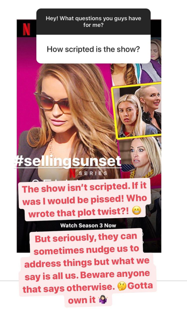 Selling Sunset, staged, scripted, Chrishell