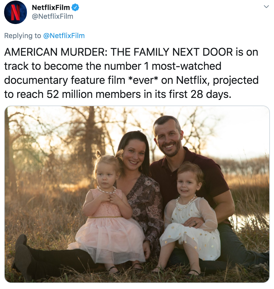American Murder, The Family Next Door, viewing figures, stats, views, most watched, Netflix, documentary, feature, film, movie, ever