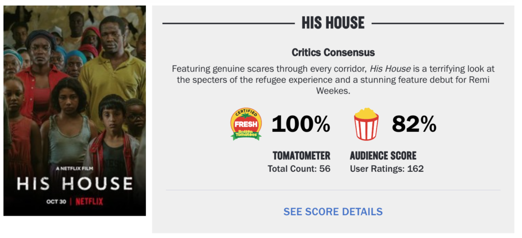 His House, reviews, review, Netflix, reactions, Rotten Tomatoes, critic, film, movie, horror, score, rating, Twitter