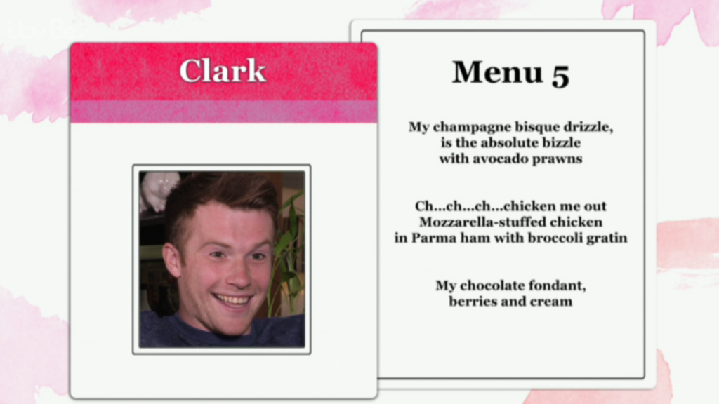 dinner date, filming, clark, menu