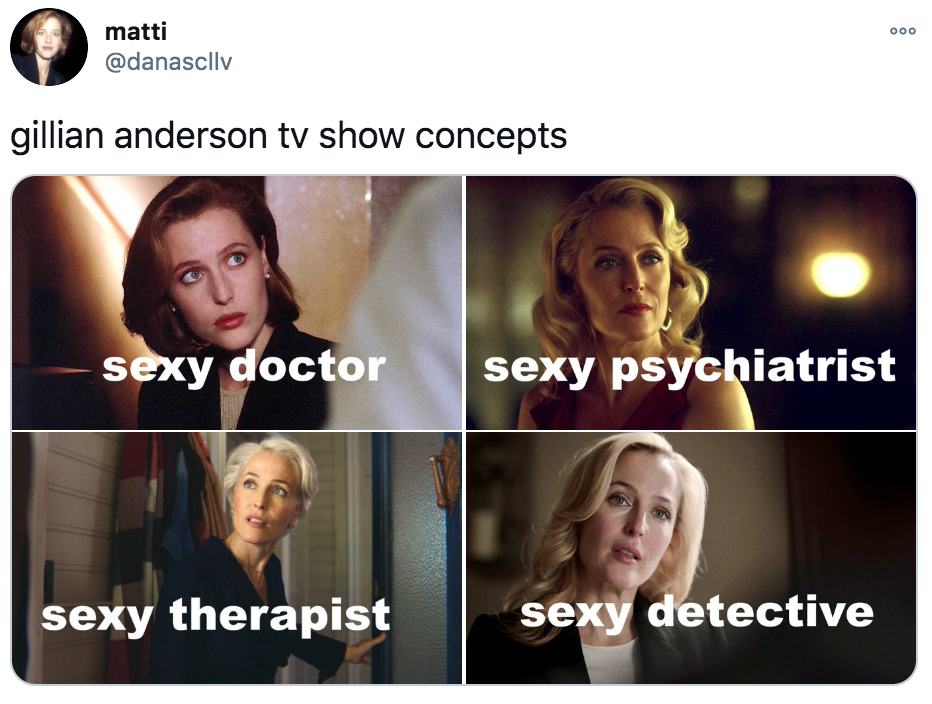 Gillian Anderson, memes, meme, Twitter, TikTok, Sex Education, The Crown, Jean Milburn, Margaret Thatcher, TV Concepts, The Fall, Stella Gibson