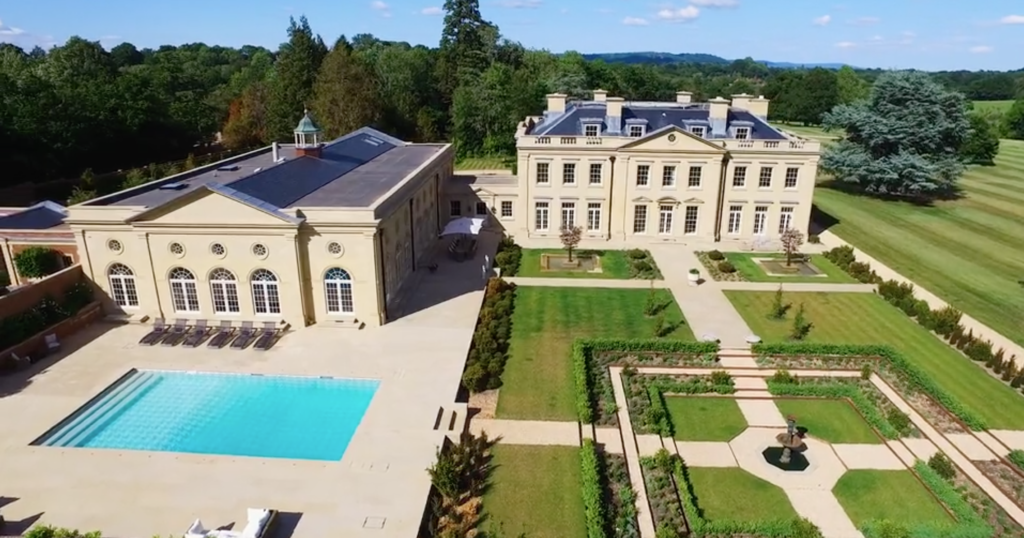 swimming pool, gardens, large house