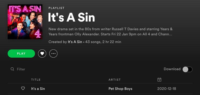 it's a sin, soundtrack, spotify, playlist, music