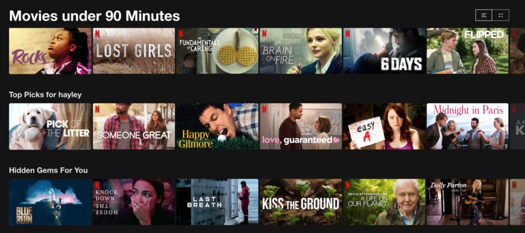 Netflix, movies under 90 minutes, category, list
