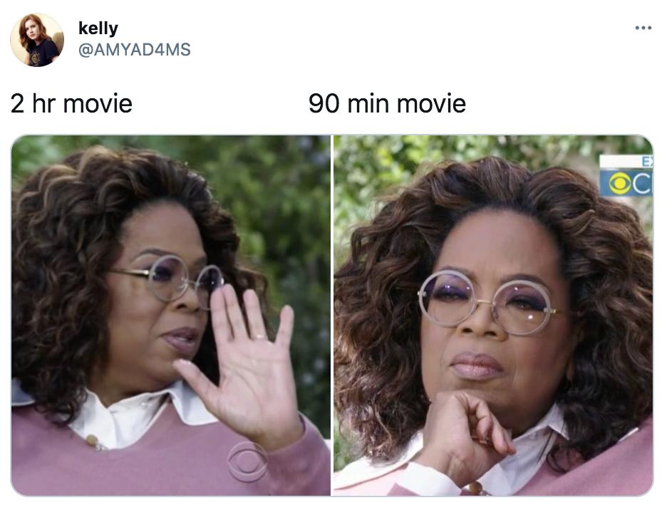 Netflix, movies under 90 minutes, movie, film, category, meme, Oprah
