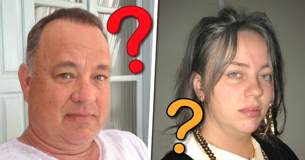 fat face filter quiz, billie eilish, tom hanks