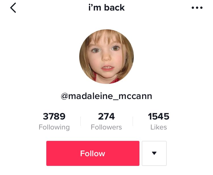 TikTok, Madeleine McCann, trend, user, profile