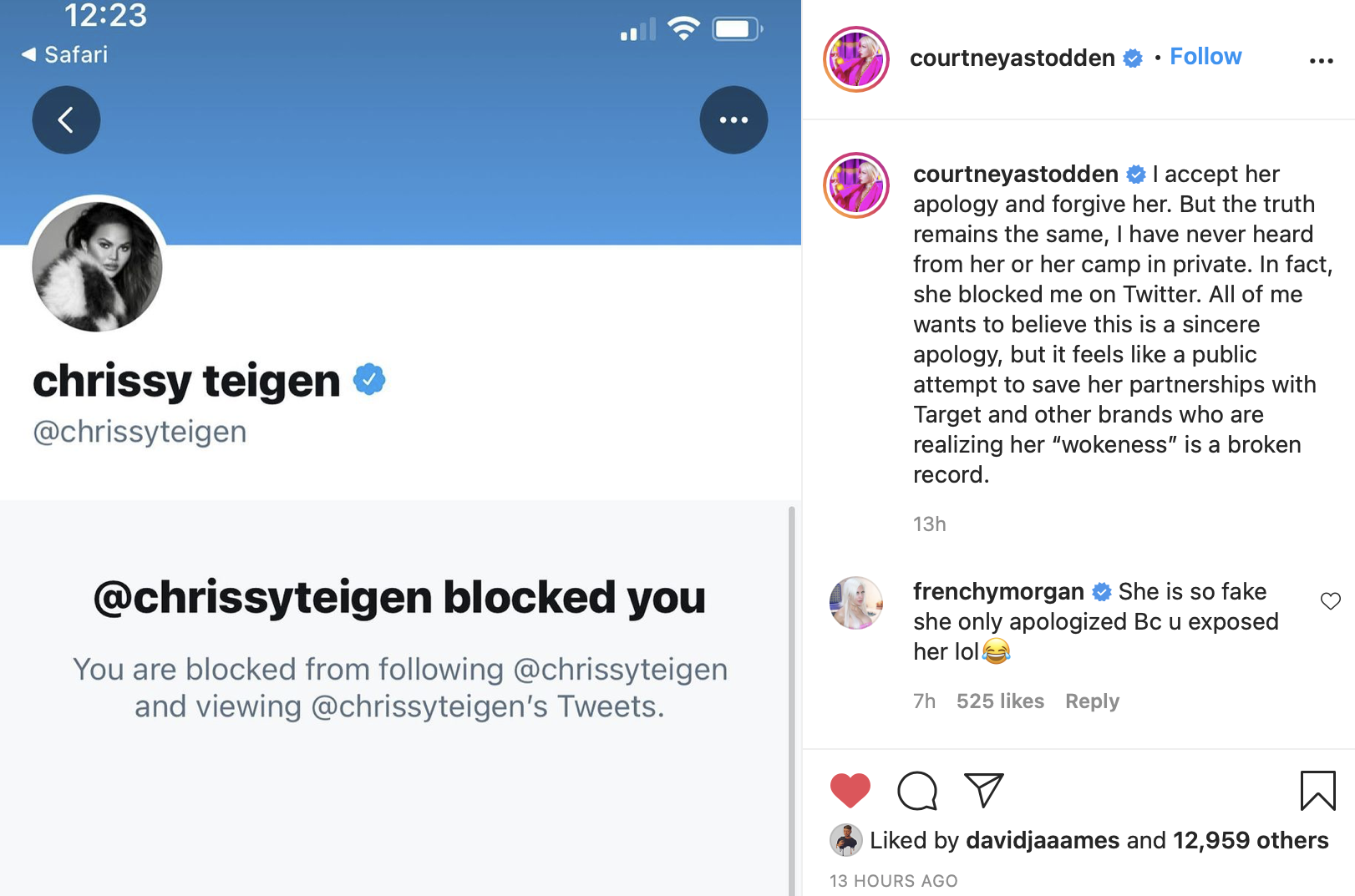 Courtney Stodden, Chrissy Teigen, Instagram