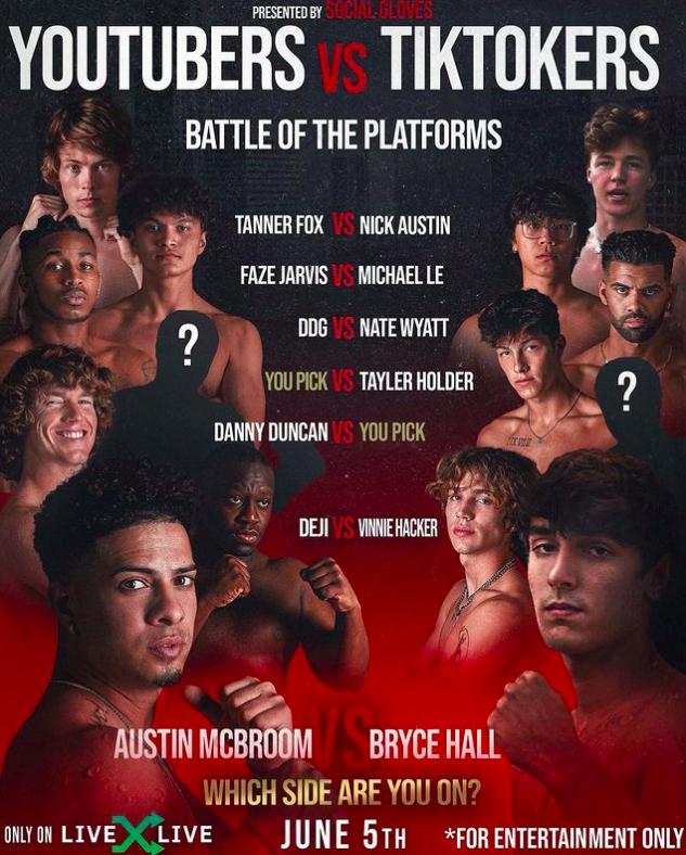 YouTube vs TikTok boxing match