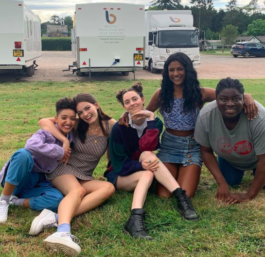 Behind the scenes pictures of the cast of Sex Education on Netflix
