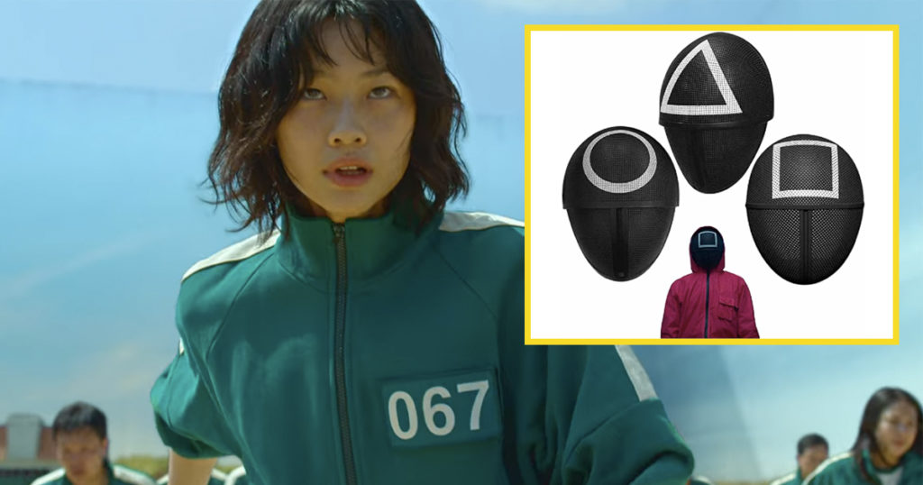 Squid Game merch, Netflix, green tracksuit, red jumpsuit