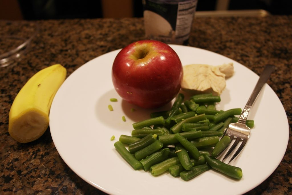 Dinner: 1/2 banana, 3 ounces meat, 1 cup green beans, 1 small apple & 1 cup vanilla ice cream