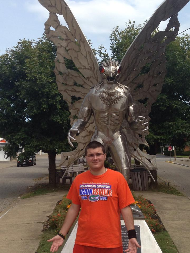 A dated photo of myself by the Mothman statue in Point Pleasant, WV