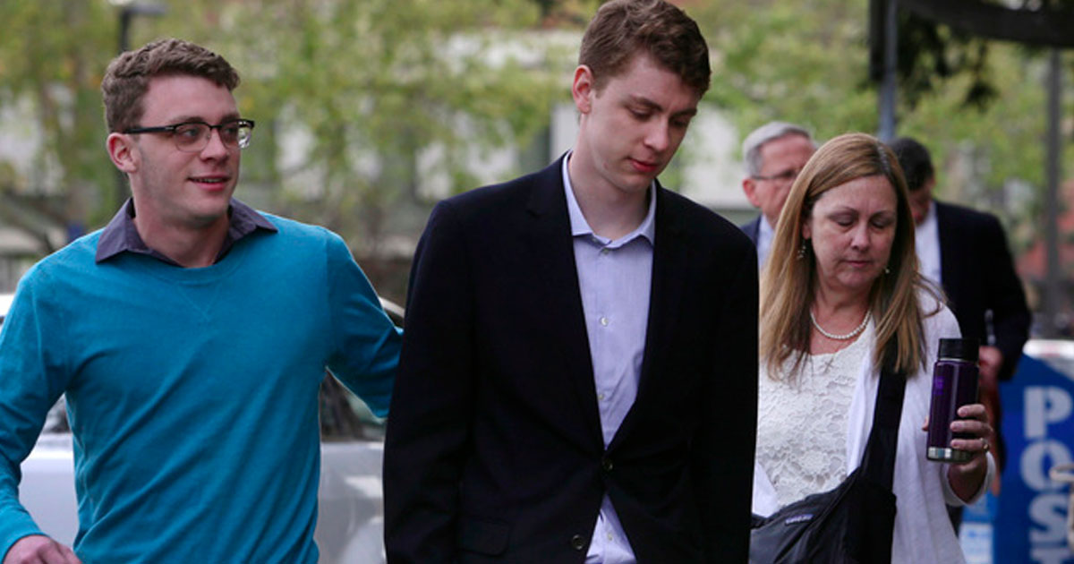 Brock Turner heads into court