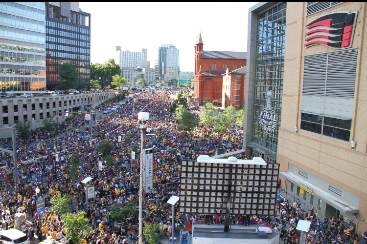 Thousands of fans packed Point State Park after the Penguins Stanley Cup  parade on Friday.
