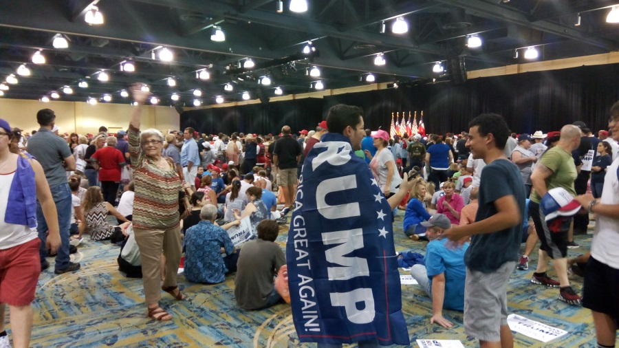 Inside the rally, before Trump's entrace