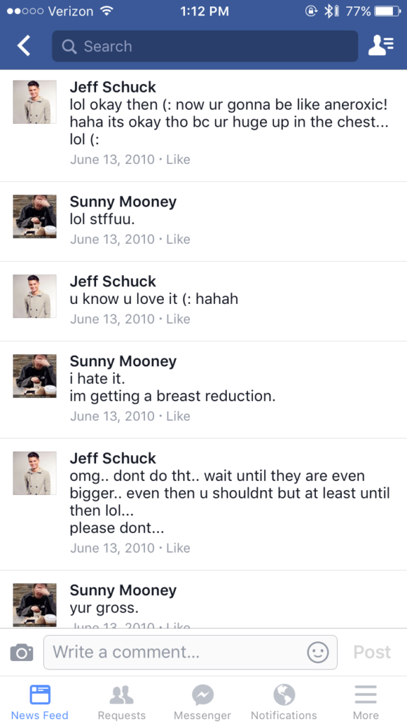 My best friend and I having a constructive debate on the risks of undergoing a breast reduction c. 2010, eighth grade