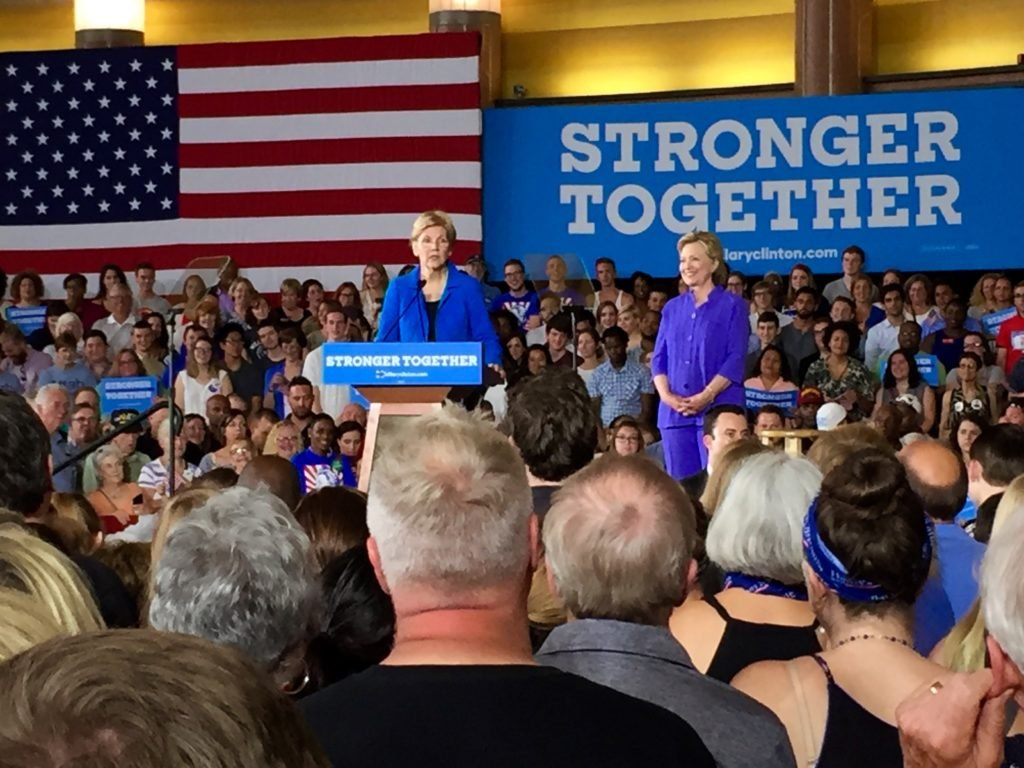 Sen. Elizabeth Warren delivers a speech endorsing Hillary Clinton