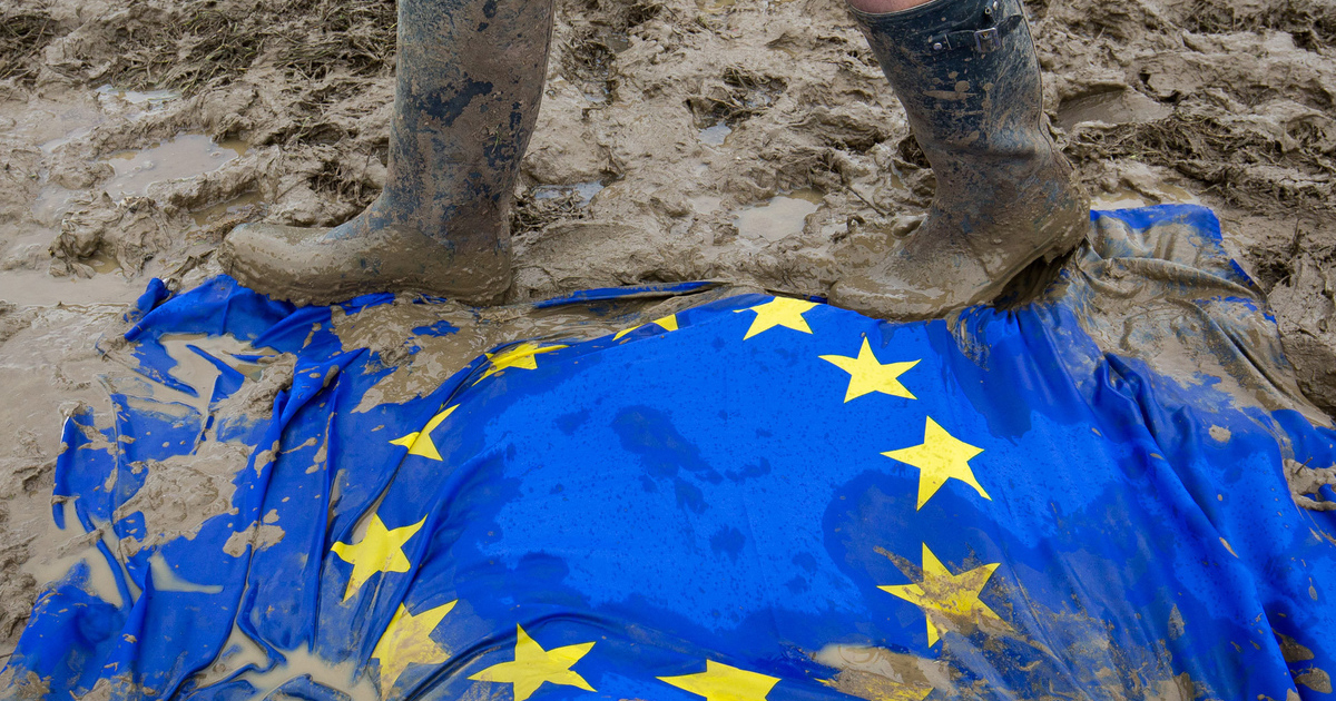A European Union flag lies in the mud by The Other Stage at Glastonbury Festival, Pilton, Somerset. 24 June 2016. See story SWBREXIT.
