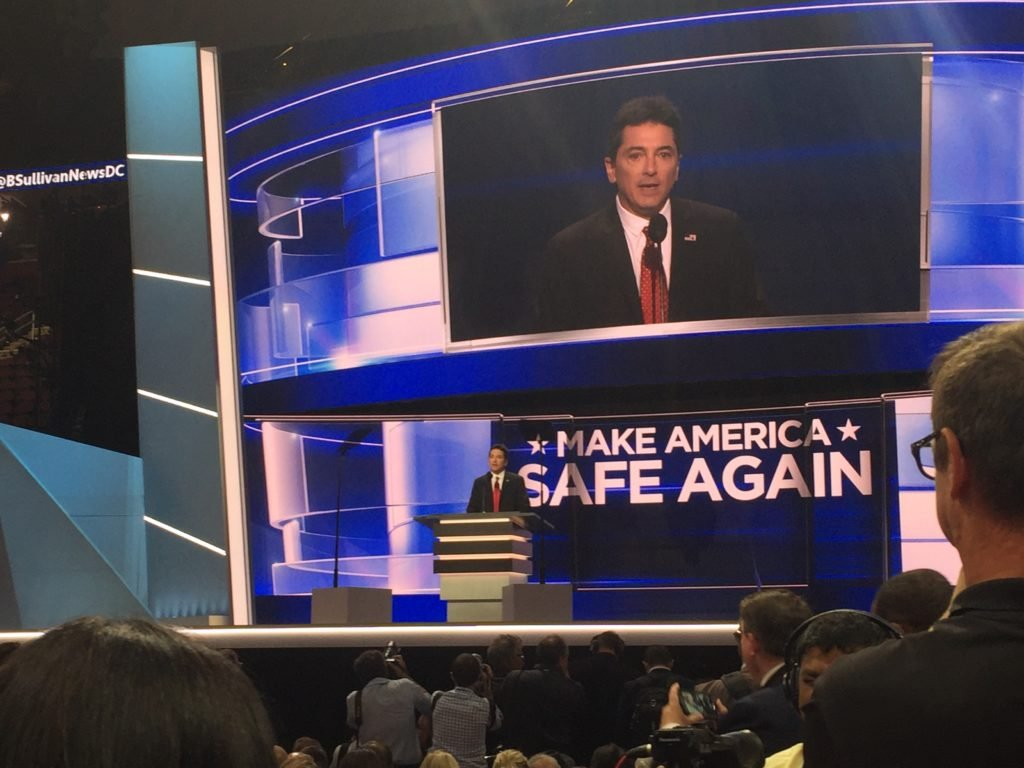 Scott Baio speaking on the first night of the RNC.