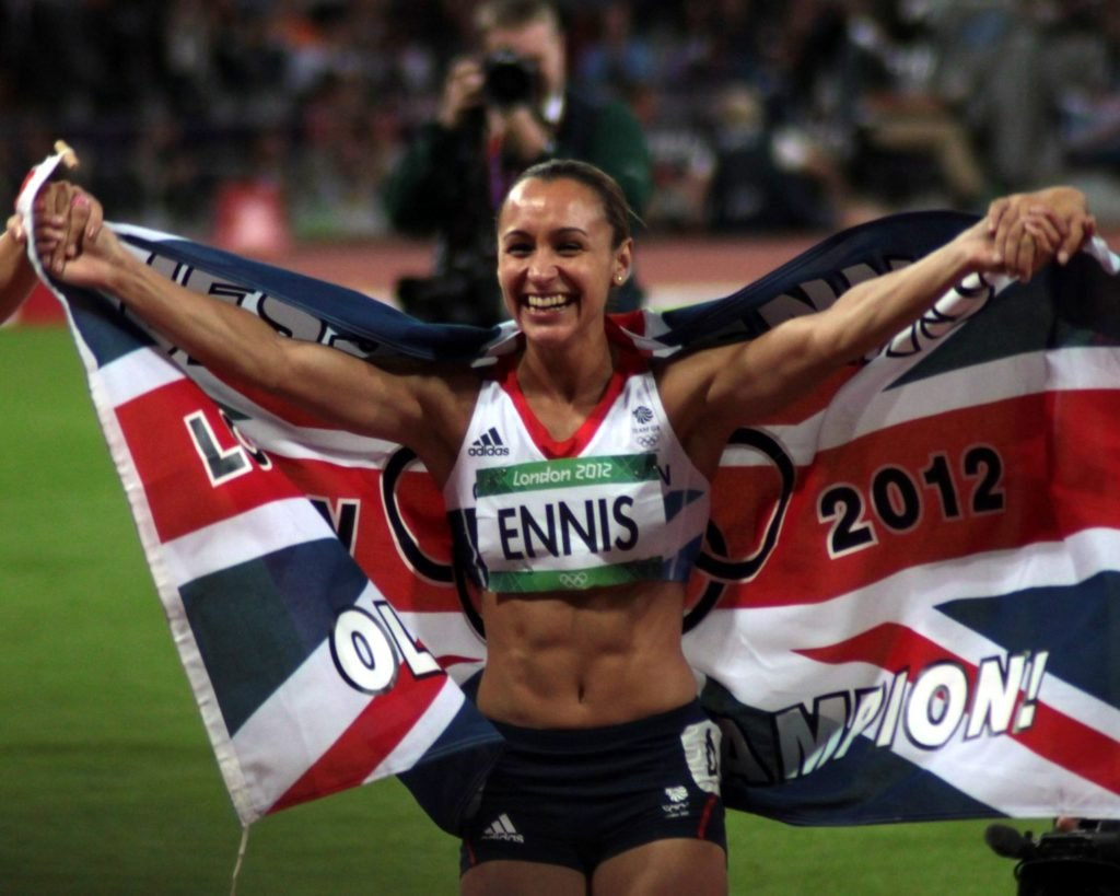 British track and field star Jessica Ennis-Hill proving muscly is the new sexy; photo by Robbie Dale