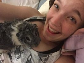 Carly Rose with her real life Pokemon, her Guinea Pig, Potato