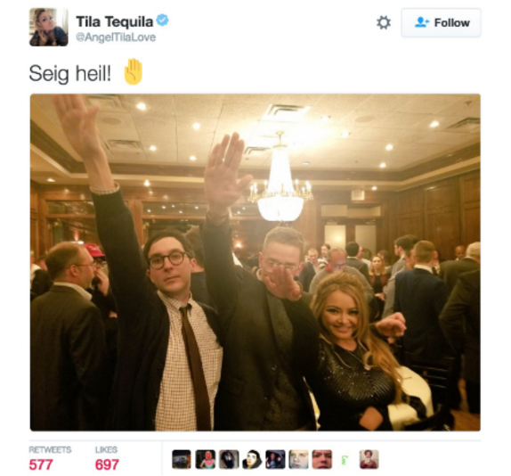 Photograph of Tila Tequila doing a Nazi salute