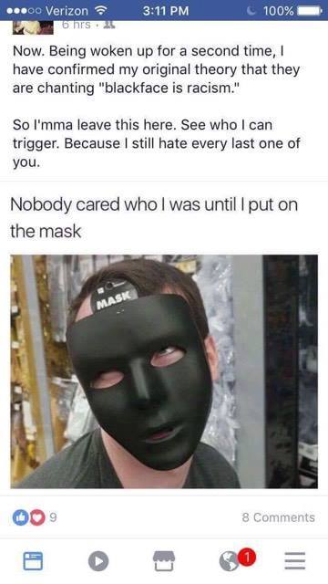 unh racism masked student