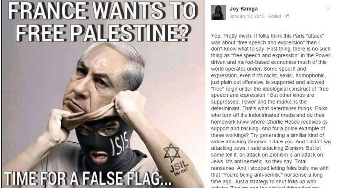 One of Joy Karega's Facebook posts claiming Israel is responsible for ISIS