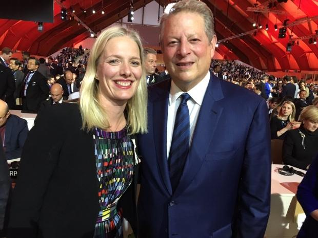 McKenna with Al Gore at Paris climate conference, 2015