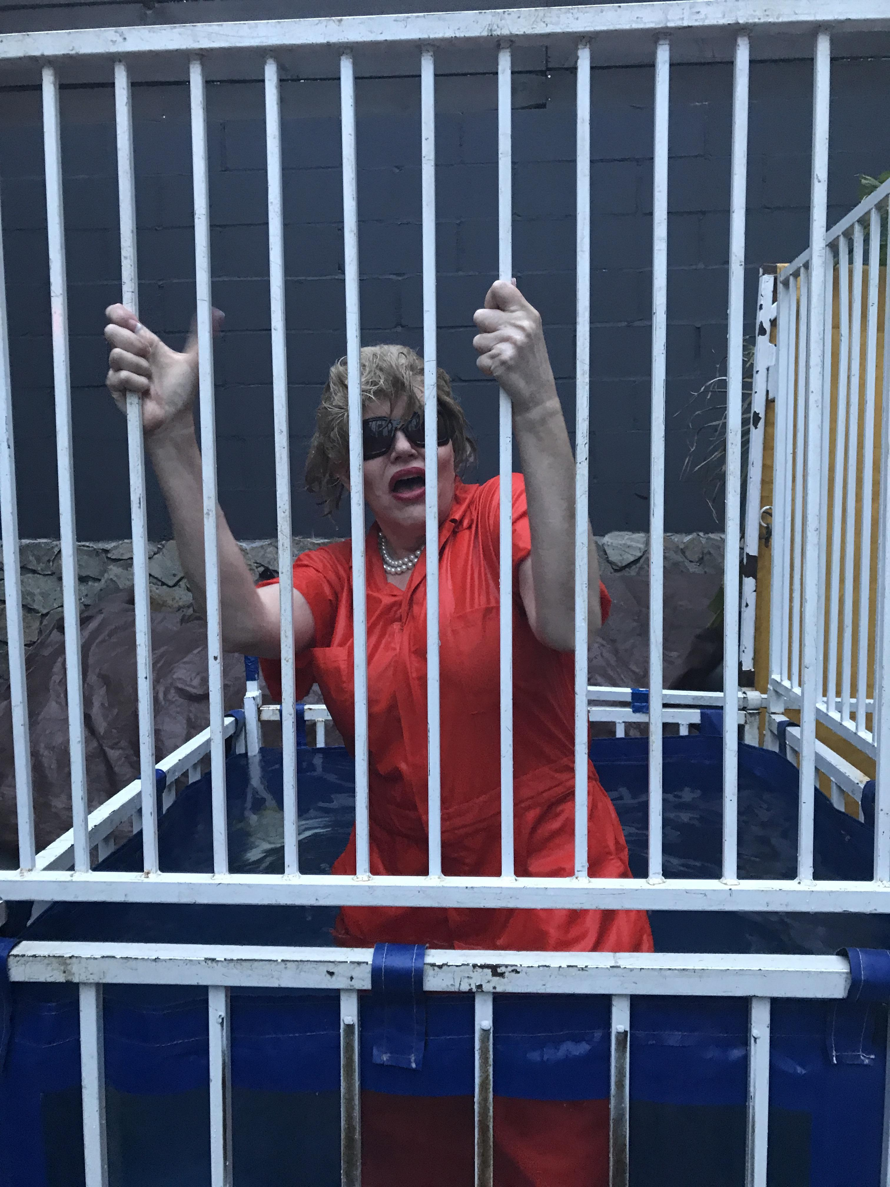 'Hillary Clinton' after getting sank in the dunk tank