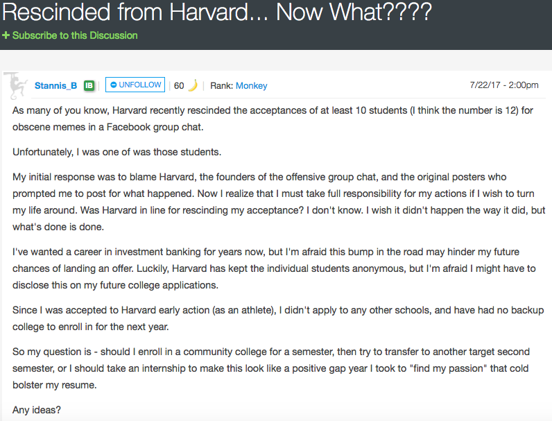 Harvard Meme Kid Speaks Out About How Mad His Parents Were When He