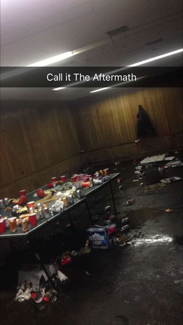 A Snap showing the aftermath of the fight club night