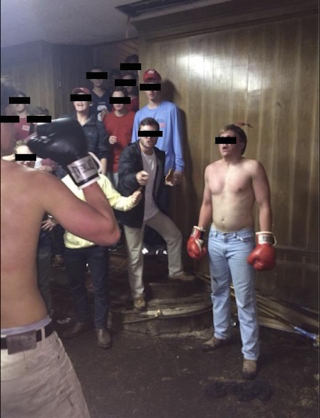 These photos appear to show a fight club event at Beta Theta Pi at a separate time to the alleged hazing ritual that left Blake Novacek with severe brain damage