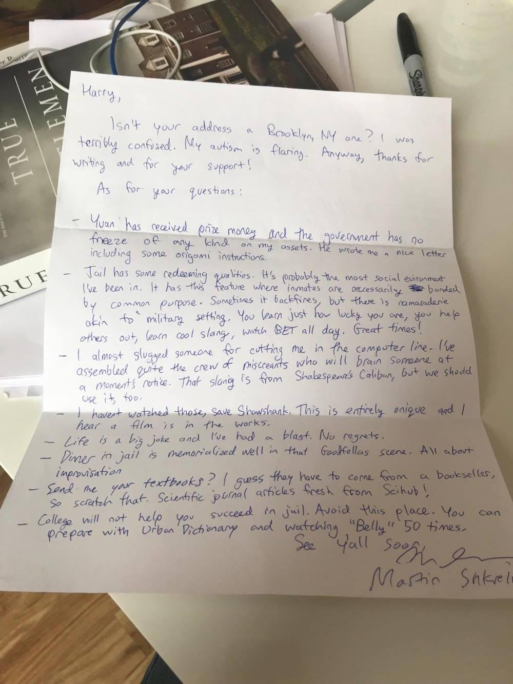 Martin Shkreli sends a letter from jail to say Avoid this place
