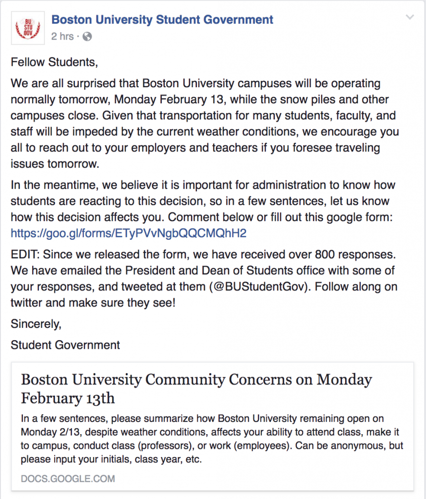 bu won t give a snow day tomorrow and people are pissed