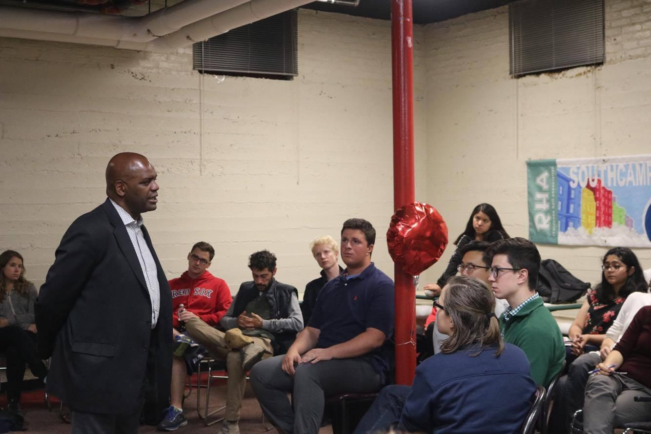 Dean Kenneth Elmore addresses students at 'South Chats' Wednesday. Photo by Janki Patel