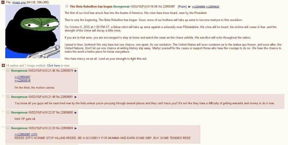 A 4Chan post believed to be the source of the threat