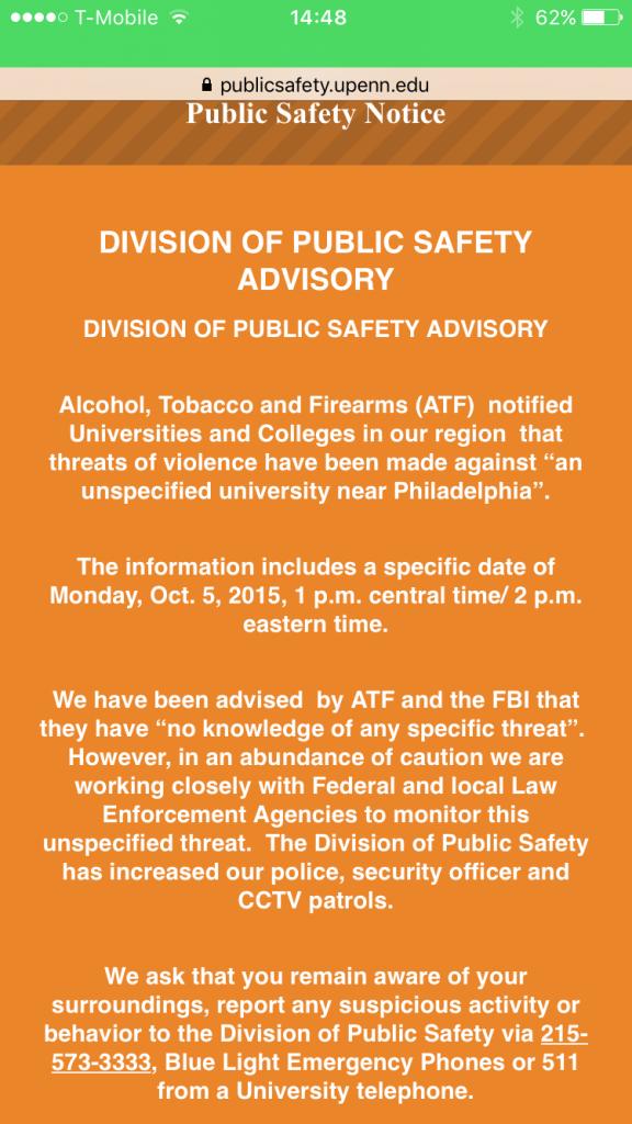 University of Pennsylvania Division of Public Safety Advisory