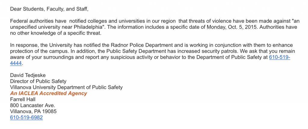 Villanova University Department of Public Safety Emergency Alert