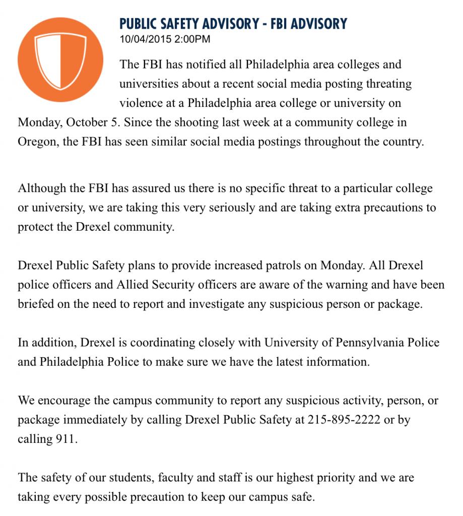 Drexel Public Safety Advisory - FBI Advisory