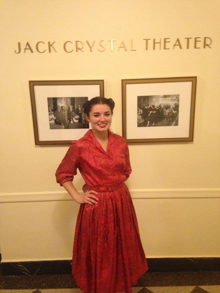 Sarah Mackenzie posing in the Jack Crystal lobby.