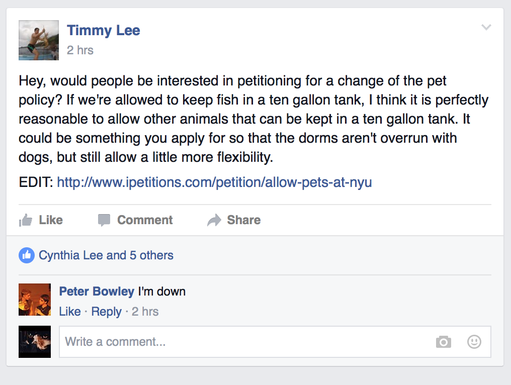 Someone's started a petition for us to have pets in our dorms
