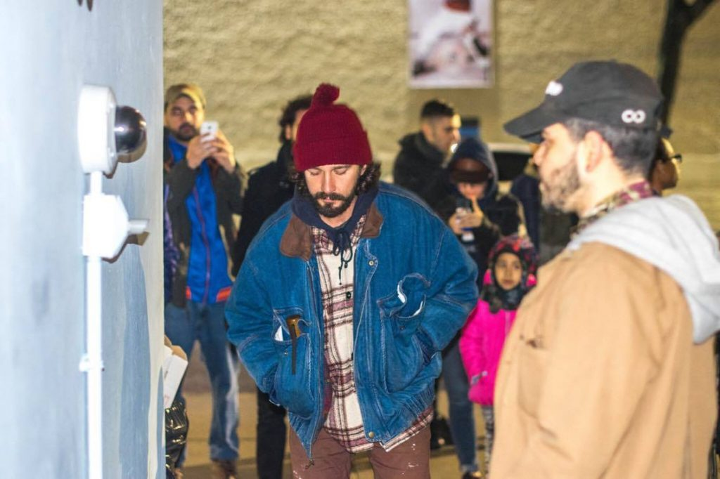 Shia LaBeouf, protest, divide, #hewillnotdivideus, trump, neo nazi, new york city, art installation