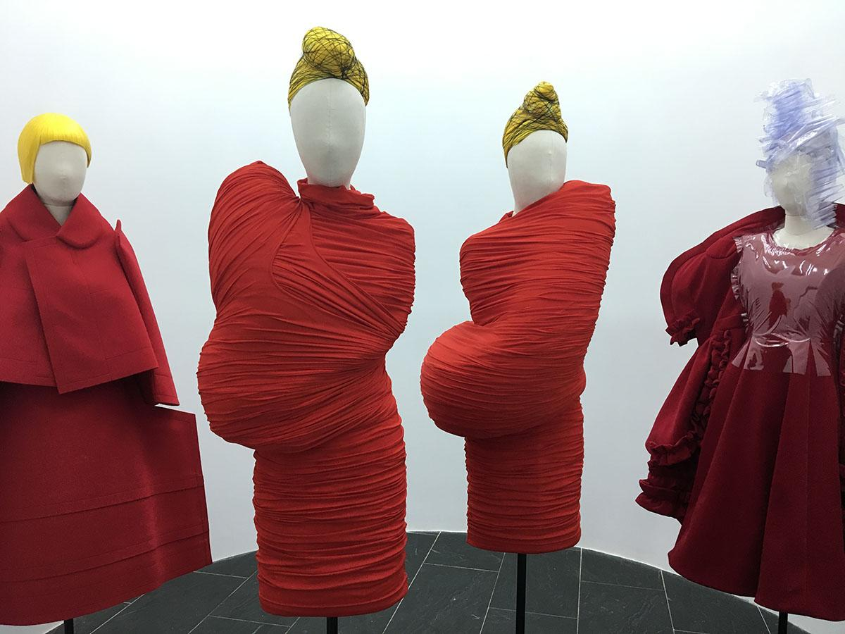 Fashion Exhibit at the Me. TBH, those outfits make me thinks of blood cells or something