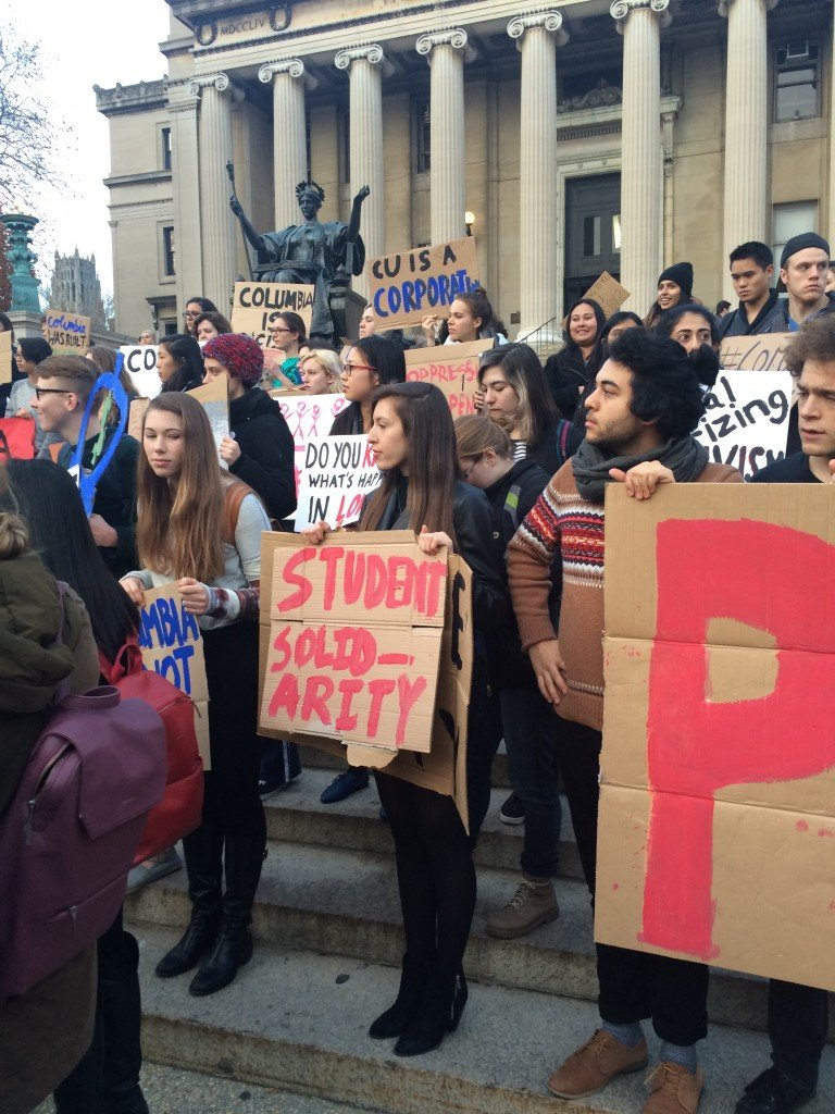 The Barnard Columbia Solidarity Network is protesting in