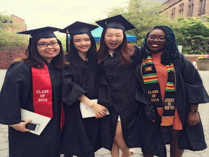 Here are Bettina, Anne, Nicole, and Sakile, graduating from Trinity College as Quest Scholars. Quest Scholars are a tight knit group of high achieving, low income students nationwide at various college campuses throughout the U.S. See https://www.questbridge.org/scholars for more information.