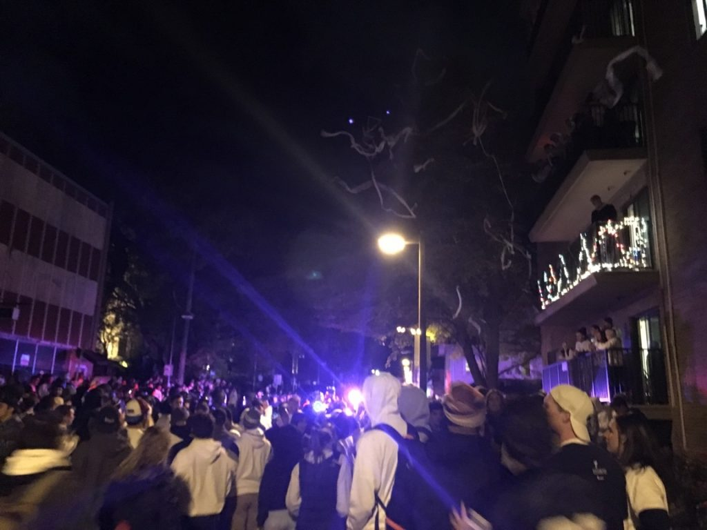 Riots and crowds of people after Penn State Ohio game